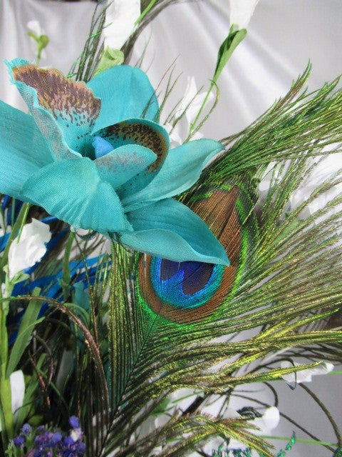 Peacock Victorian Silk Floral Beaded Centerpiece Arrangement in Blue Teal, Turquoise, Purple and White - Odyssey Creations