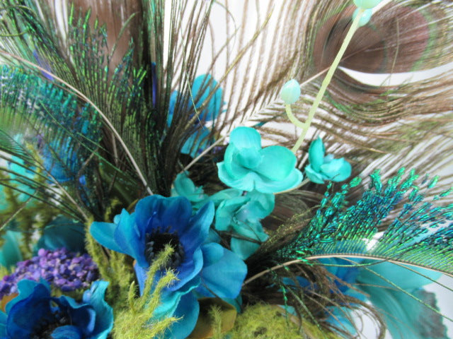 Peacock Floral Centerpiece Arrangement in Turquoise Teal Orchids, Blue and Purple - Odyssey Creations