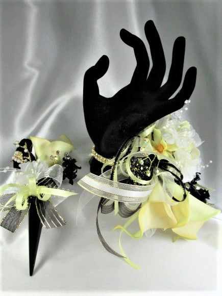 Yellow Calla Lilies, White and Black Prom Set with Crystal Wrist Bracelet Corsage Bracelet, Magnetic Boutonniere Prom Set - Odyssey Creations