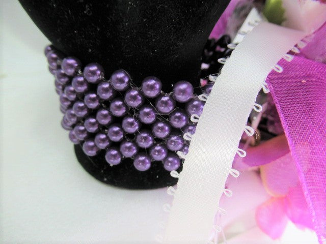 Prom Set in Radiant Orchid Shades of Purple and White with Wrist Corsage Pearl Bracelet - Odyssey Creations