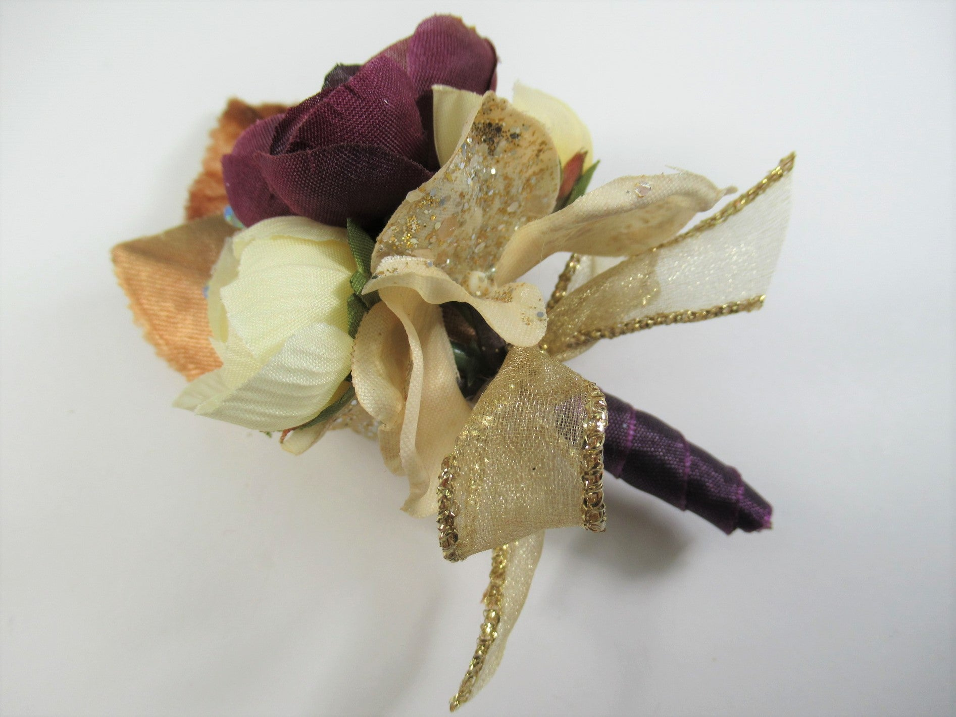 Dark Plum and Light Gold Ranunculous Prom Set with Crystal Wrist Corsage Bracelet, Pin On Boutonniere - Odyssey Creations