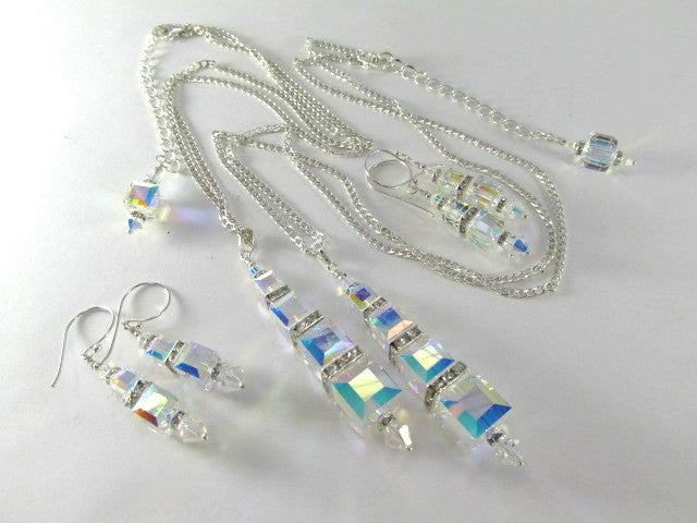 Swarovski Crystal AB Graduated Size Cube Necklace and Earring Set on Sterling Silver - Odyssey Creations