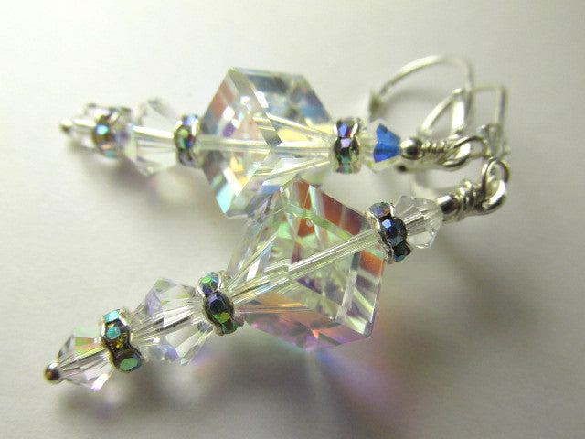 Crystal AB Swarovski Diagonal Cube Earrings on Sterling Silver - Odyssey Creations