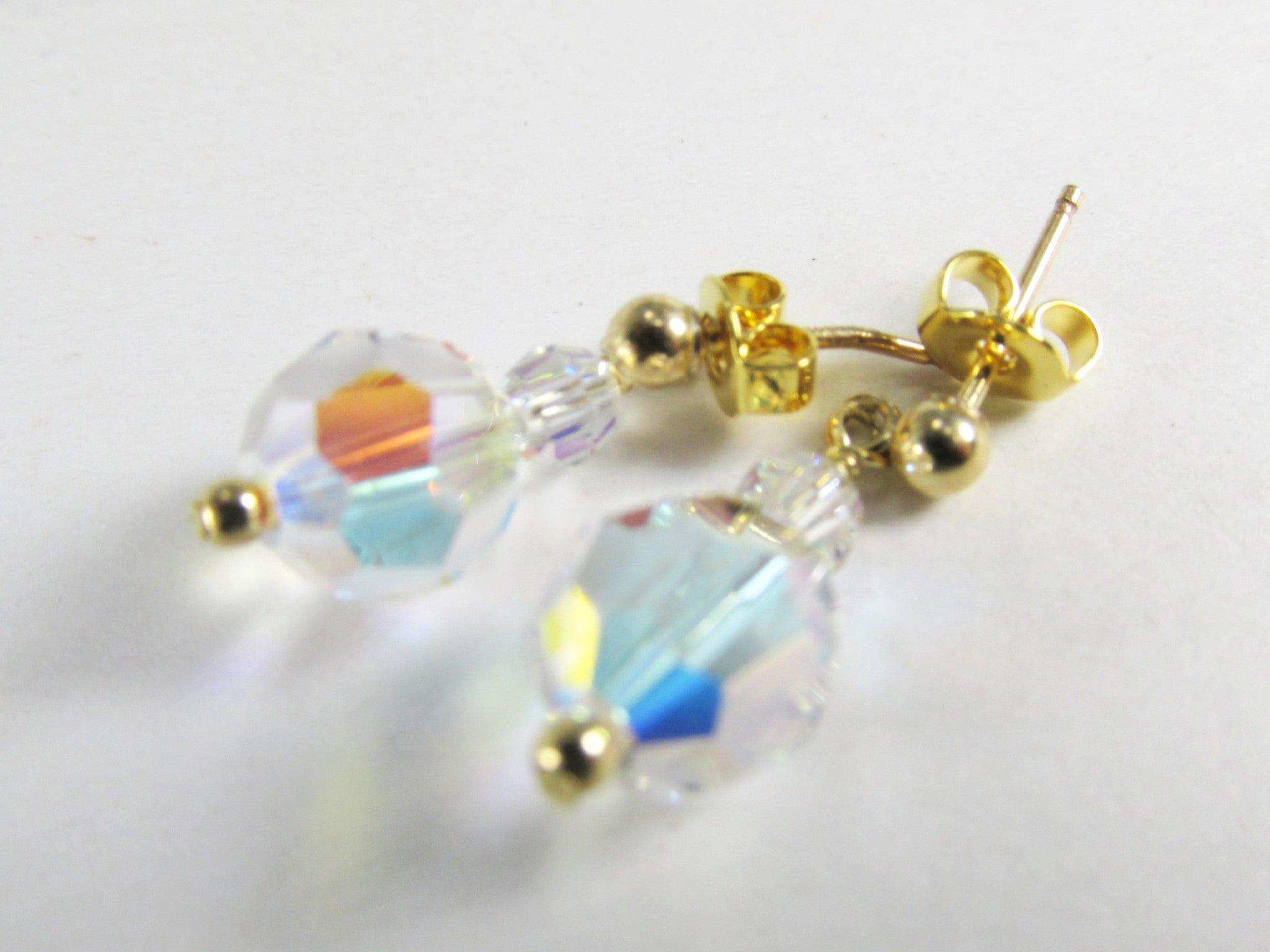 Crystal AB Swarovski 20mm Simple Drop Bridesmaid Earrings on 14k Gold Fill - Odyssey Creations
