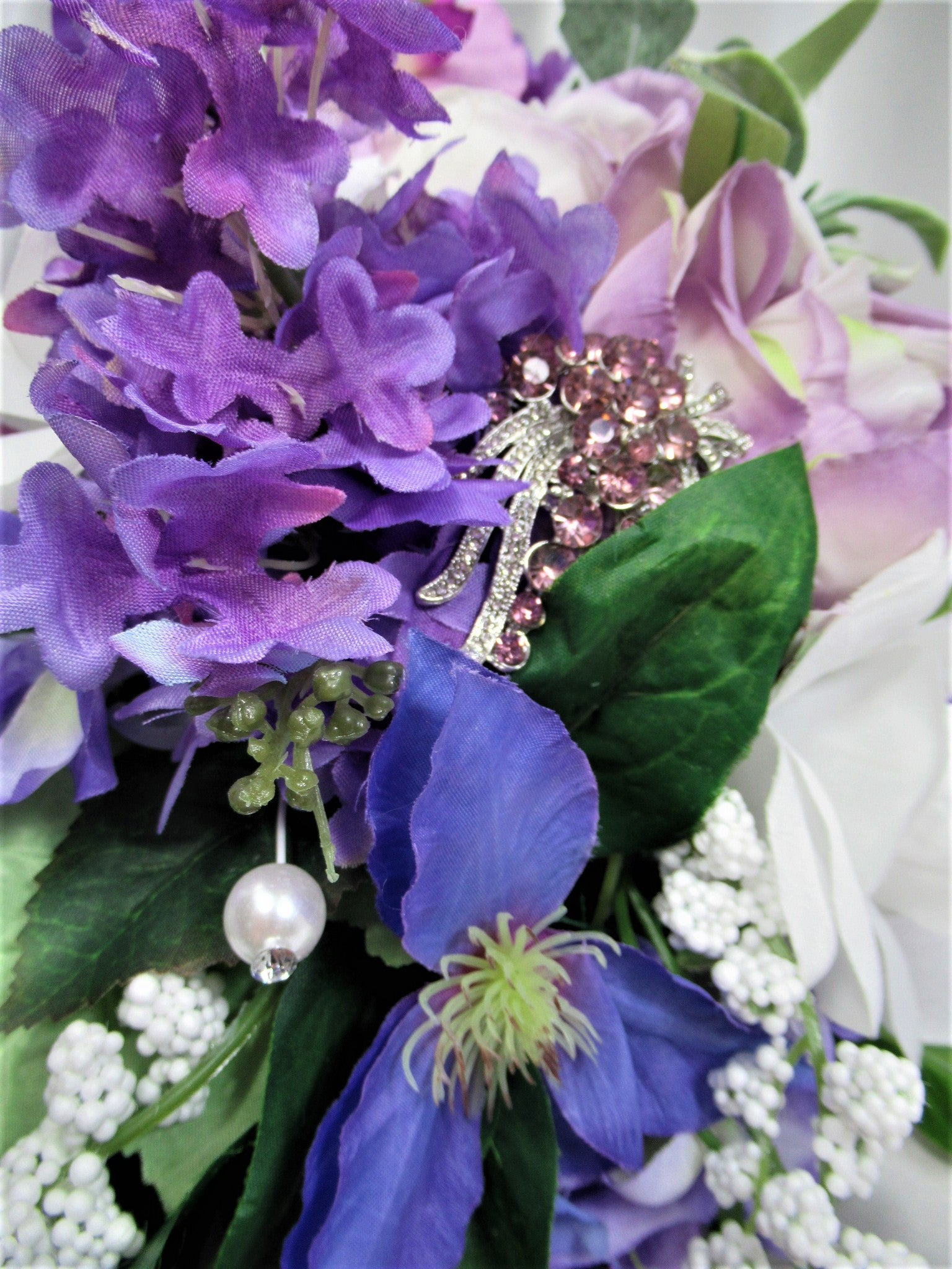 Radiant Orchid Bridal Cascading Brooch Bouquet in Purple, Violet, Lavender, Periwinkle and White - Odyssey Creations