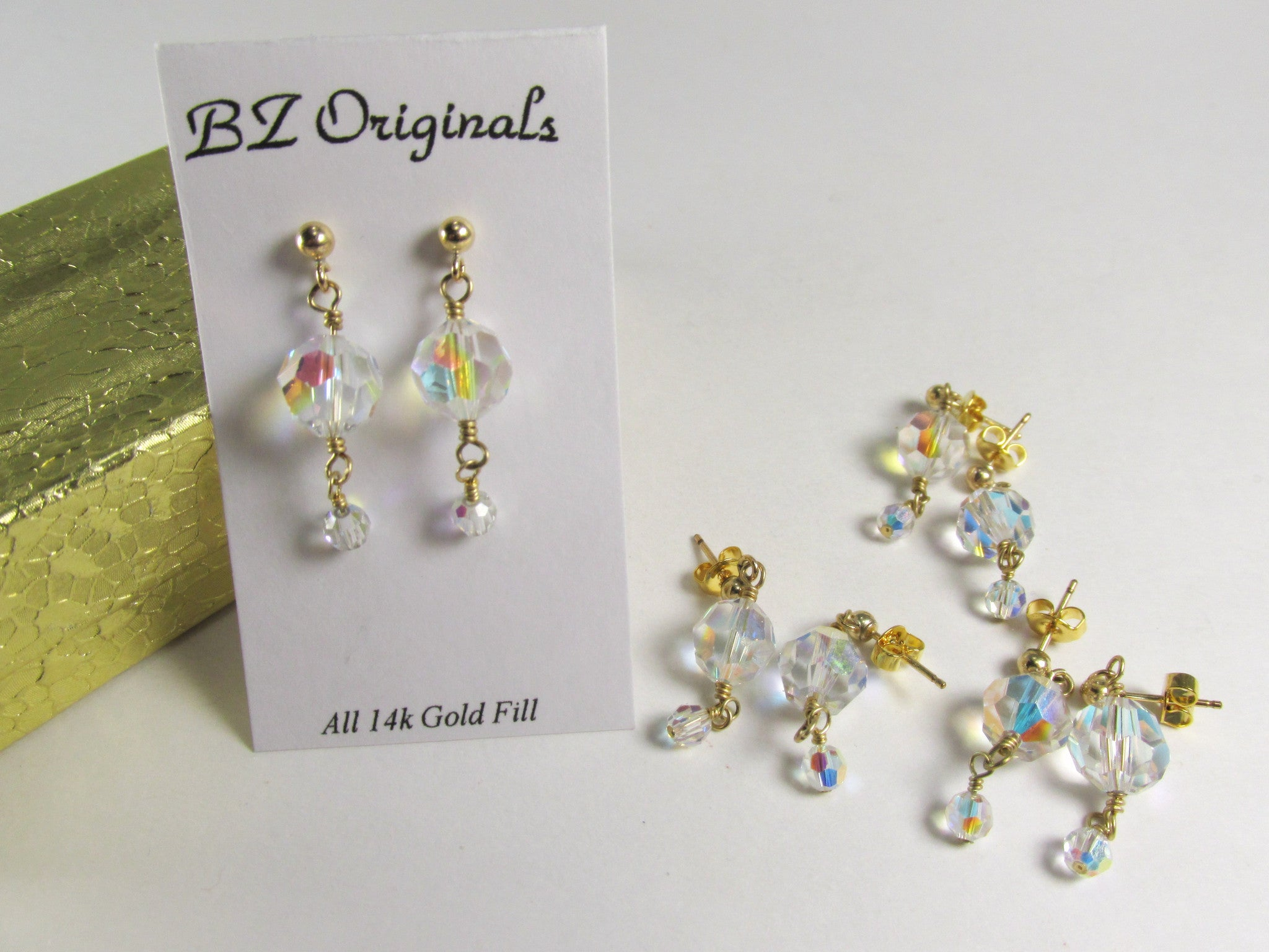 Crystal AB Swarovski 20mm Dangle Drop Bridesmaid Earrings on 14k Gold Fill - Odyssey Creations