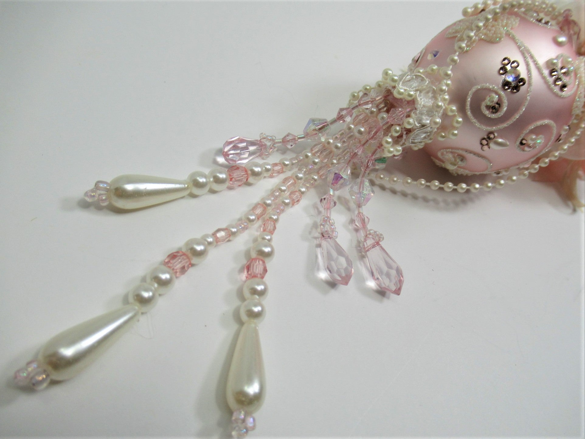 Pale Pink and Ivory Small But Tall Beaded Victorian Ornament with 102 Swarvoski Crystals and Pearls - Odyssey Creations