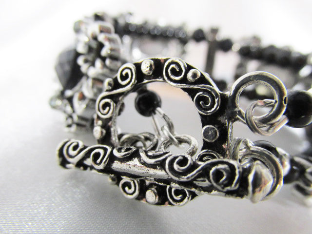 Vintage Style Black Crystal and Fancy Gunmetal Toggle Clasp 7 1/4 Inch Bracelet - Odyssey Creations