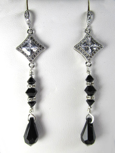Swarovski Crystal Jet Black and Clear Crystal Sterling Silver Long Y Necklace and Earring Set - Odyssey Creations