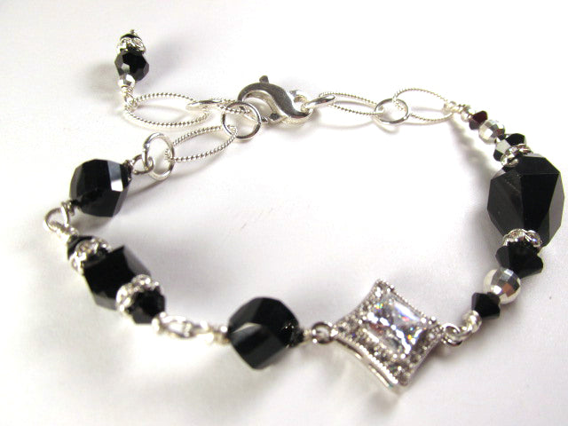 Swarovski Crystal Jet Black Polygon and Clear Crystal Sterling Silver Adjustable Bracelet - Odyssey Creations
