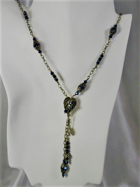 Midnight Navy Blue Crystal and Brass LeafAsymetrical Necklace and Earring Jewelry Set - Odyssey Creations