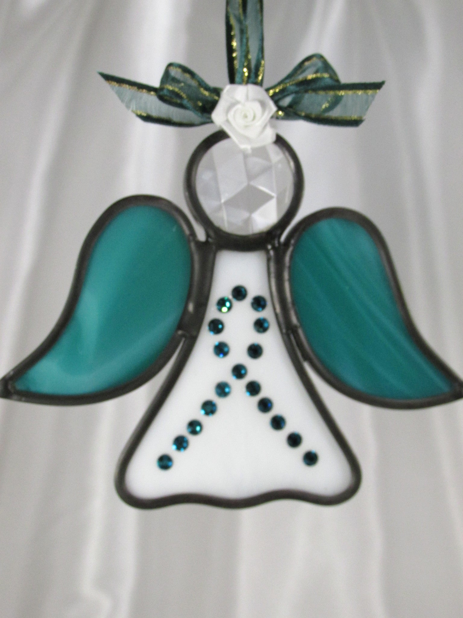 Green Teal Ovarian Cancer Awareness Angel Stained Glass Ornament or Suncatcher - Odyssey Creations
