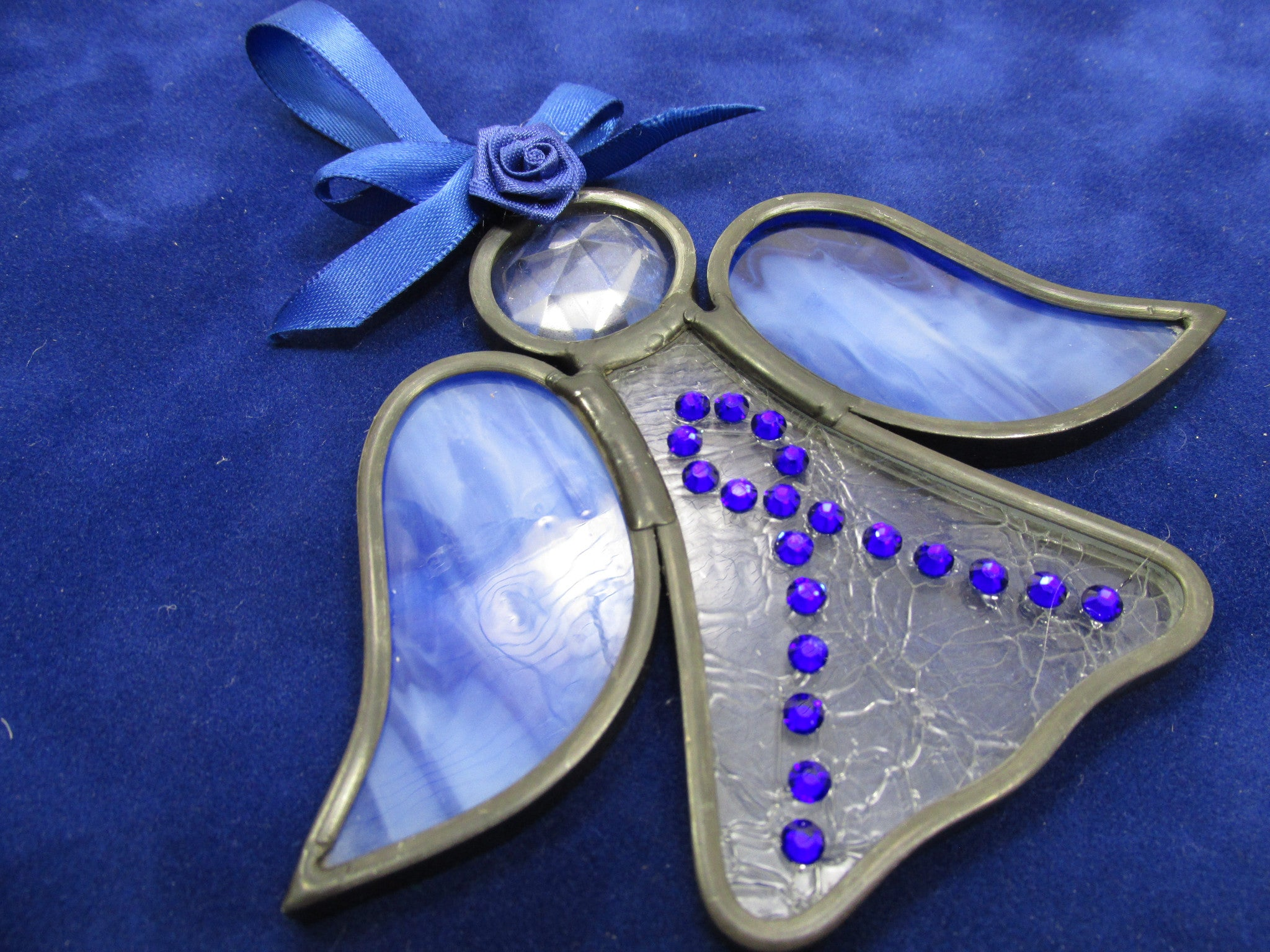 Blue Domestic Abuse Awareness Angel Stained Glass Ornament or Suncatcher - Odyssey Creations