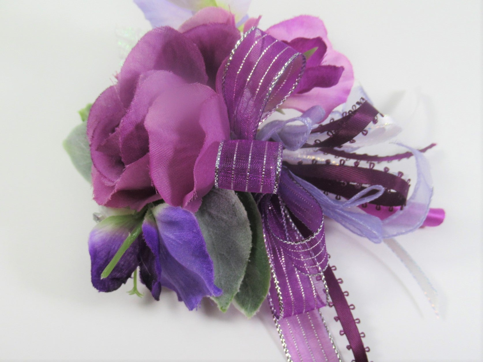 Boutonnierre or Corsage with Purple Silver Ribbon in Radiant Orchid Purple, Violet, Lavender, Periwinkle and White - Odyssey Creations