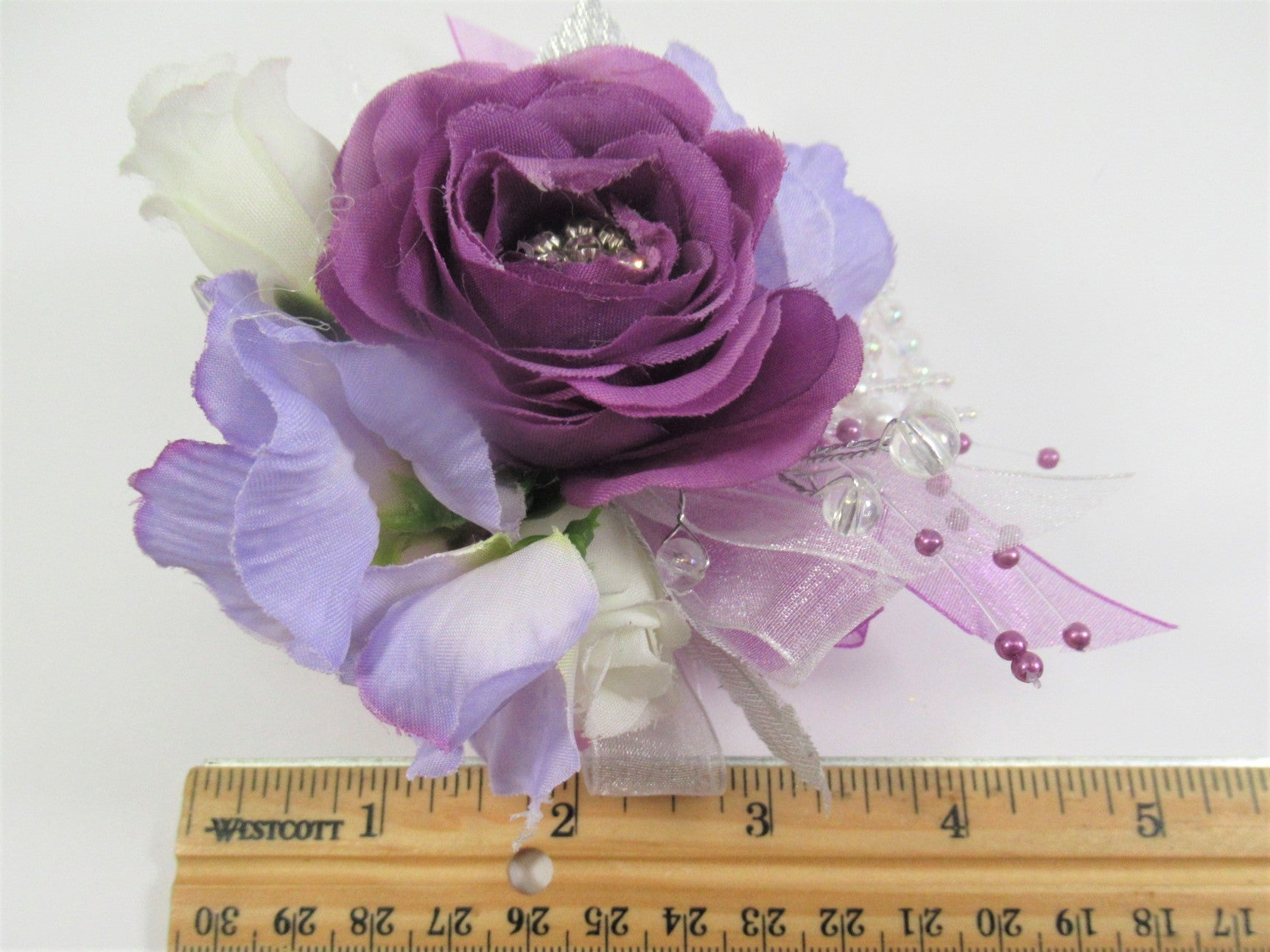 Petite Small Wrist Corsage in Purple Lavender and White Radiant Orchid Colors with Clear AB Beaded Bracelet - Odyssey Creations