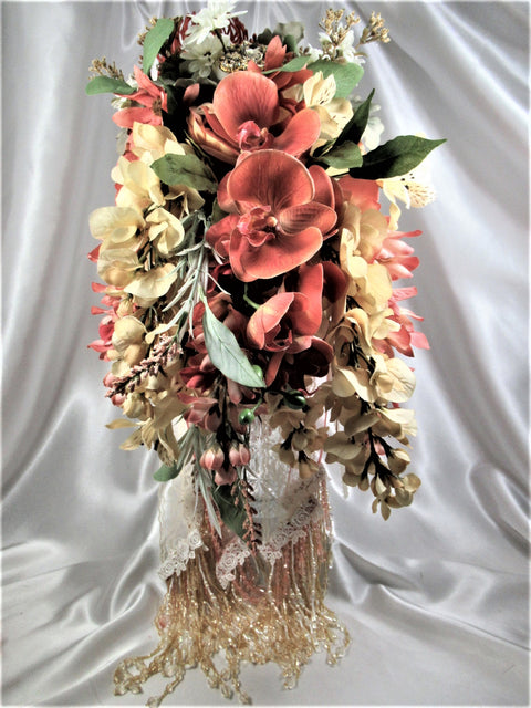 Autumn Apricot, Coral Mauve, Light Gold and Ivory Beaded Cascading Brooch Orchid Bridal Bouquet and Boutonniere Se - Odyssey Creations