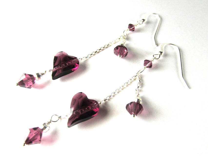 Swarovski Purple Amethyst Diagonally Drilled Wild Heart Sterling Silver Earrings - Odyssey Creations