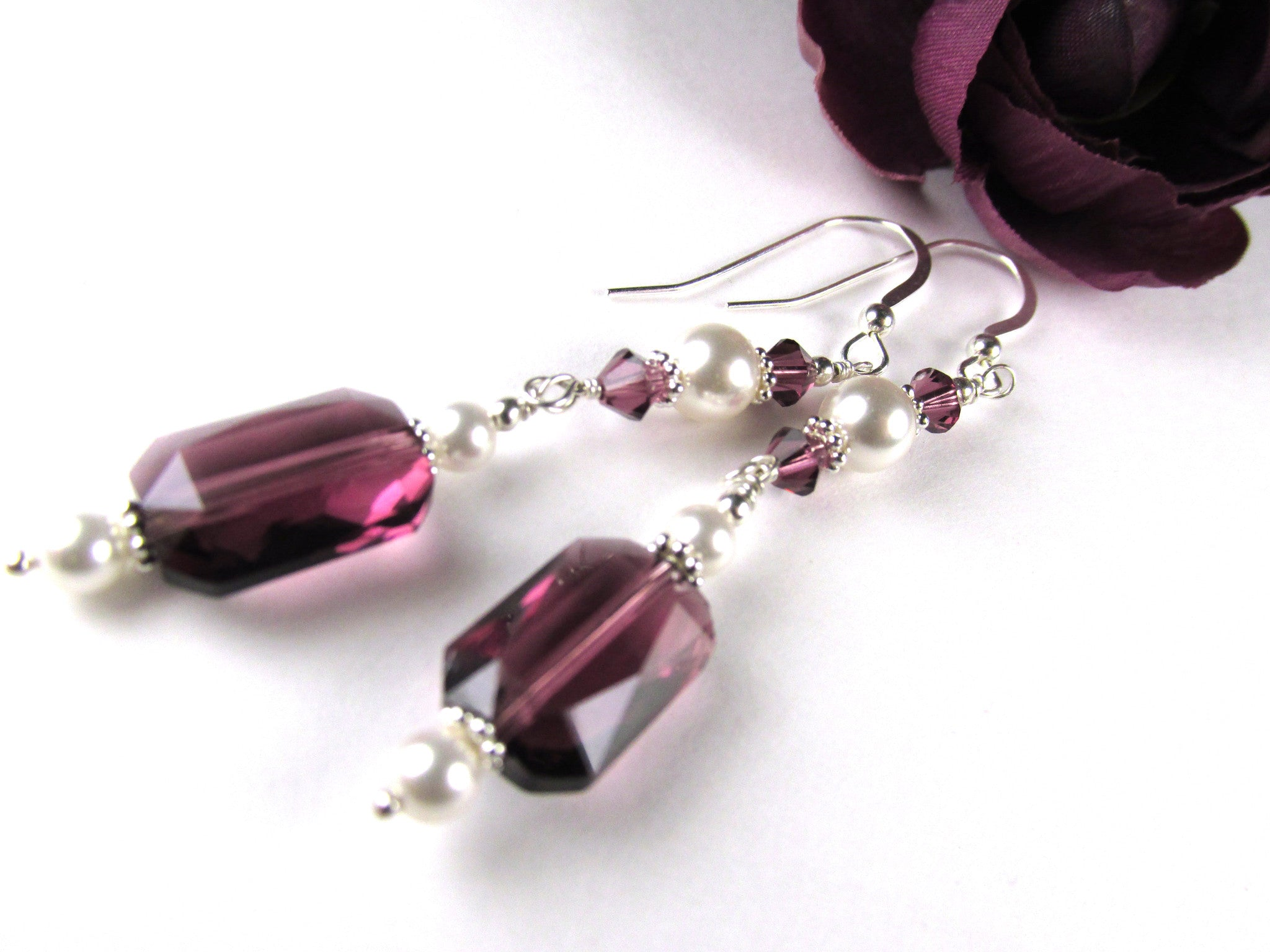 Swarovski Purple Amethyst Faceted Rectangles and White Pearl Sterling Silver Earrings - Odyssey Creations