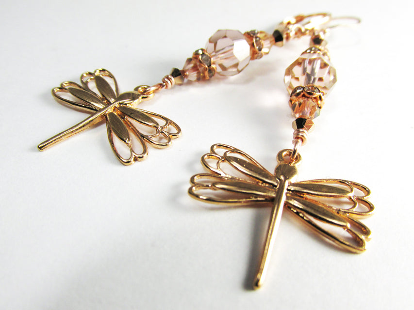 Rose Gold Fill Swarovski Vintage Pink Dragonfly Earrings - Odyssey Creations