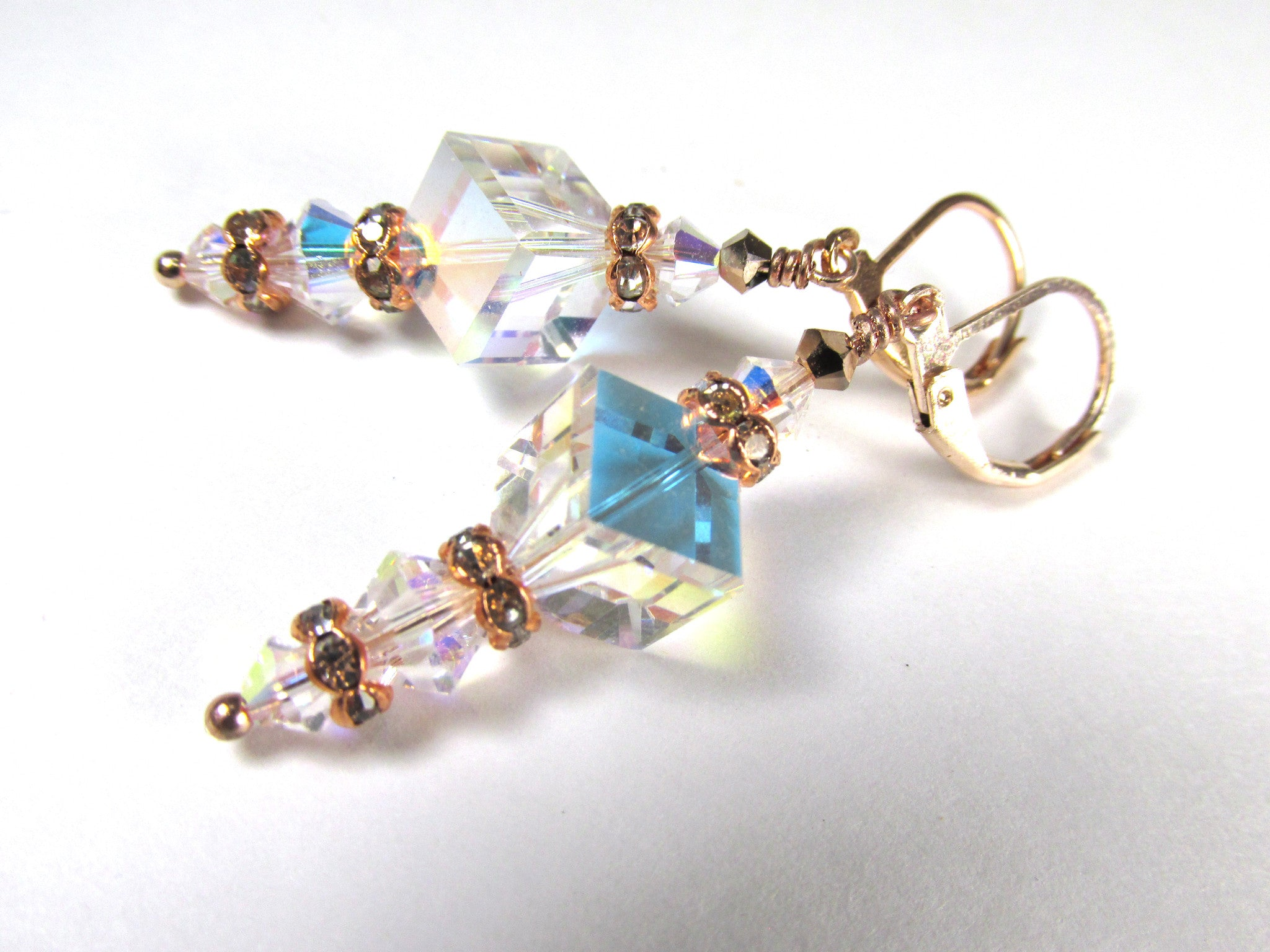 Rose Gold and Crystal AB Swarovski Diagonal Cube Earrings - Odyssey Creations