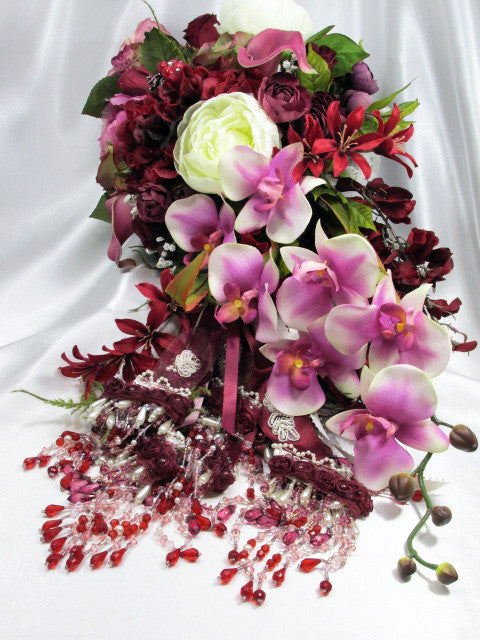 Mulberry Memories Large Beaded Cascading Bridal Bouquet in Burgundy, Purple, Marsala Red - Odyssey Creations
