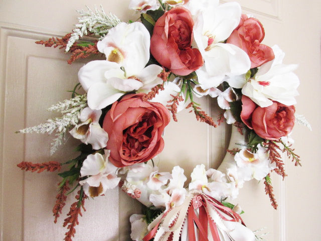 Dark Coral Cabbage Roses and Cream Magnolias Victorian Beaded Wreath Vertical Door Swag - Odyssey Creations