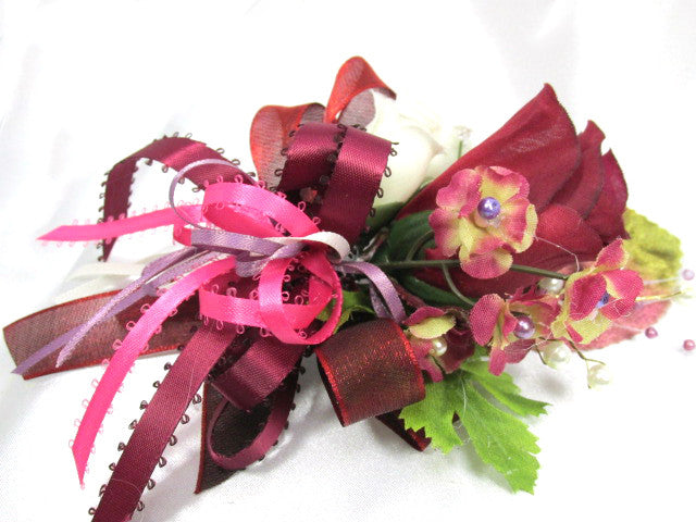 Mulberry Memories Large Rose Boutonierres or Corsages in Burgundy, Pink, Plum, Marsala Red - Odyssey Creations