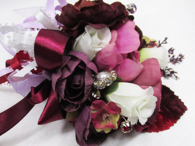 Mulberry Memories Large Corsage in Burgundy, Pink, Lavender Plum, Marsala Red - Odyssey Creations
