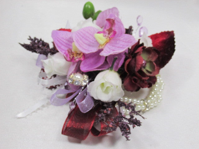 Burgundy and Lavender Fuchisa Orchids on White Pearl Bracelet Wrist Corsage - Odyssey Creations