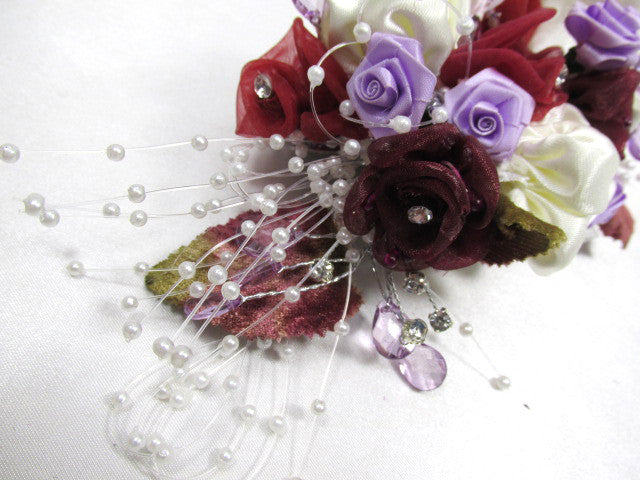 Mulberry Memories Large Hair Clip in Burgundy, Cream, Lavender, Marsala Red - Odyssey Creations