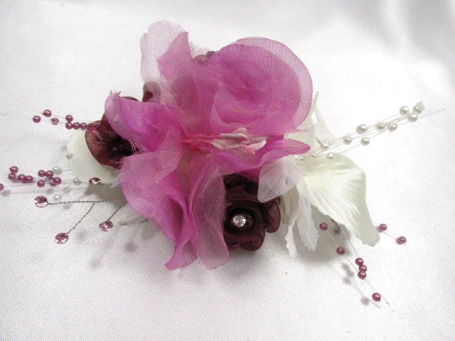 Mulberry Memories Medium Hair Clip in Orchid, Cream, Burgundy - Odyssey Creations