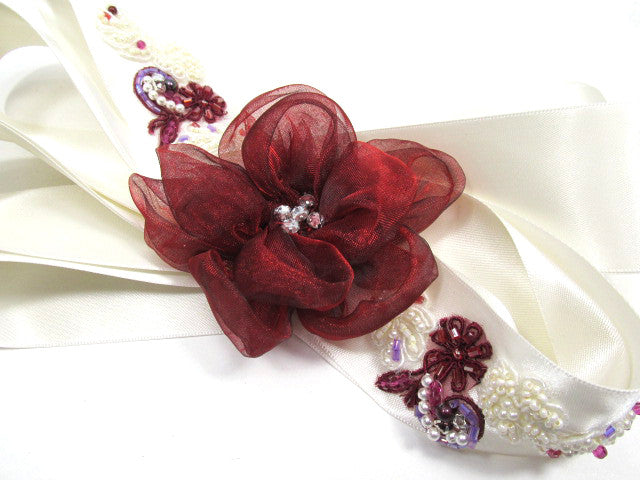 Mulberry Memories Beaded Bridal Sash in Marsala Dark Red, Burgundy, Antique White - Odyssey Creations
