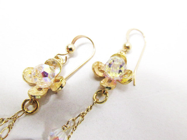 Purple Swarovski Amethyst AB Heart Earrings with Crsytal AB Flowers on Gold - Odyssey Creations