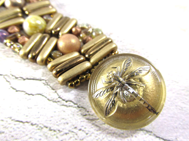 Gold Neutral Tones Czech Glass Dragonfly Button Pebble Lane Beaded 7.5 Inch Bracelet - Odyssey Creations