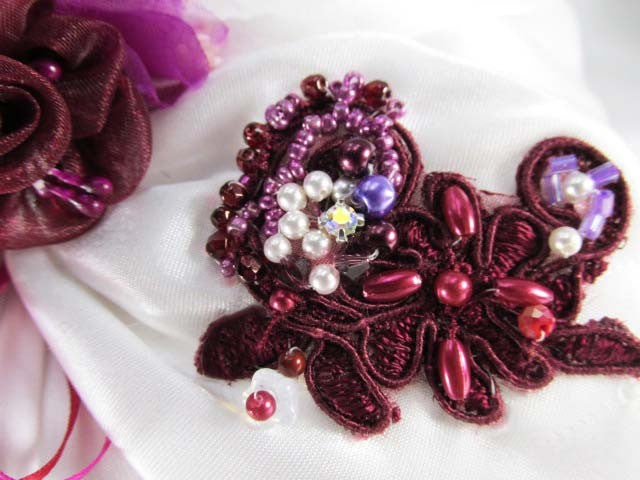 Mulberry Memories Beaded Ring Bearer Pillow in Burgundy, Marsala Red, Lilac and White - Odyssey Creations