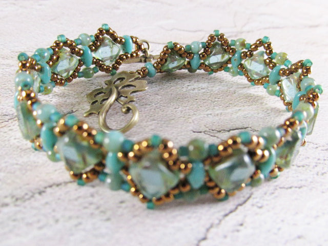 Emerald Pools Green Teal Turquoise and Bronze Silky Hand Made Beadwork Bracelet - Odyssey Creations