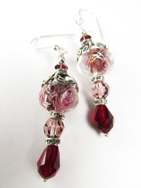 Mulberry Memories Raspberry Pink, Mauve and Siam Red Rose Lampwork Glass Earrings - Odyssey Creations