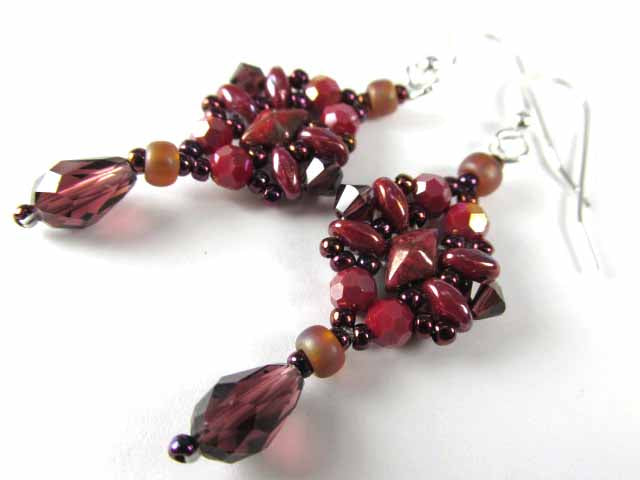 Marsala Dark Red Dragonfly Swarovski Crystal Teardrop Hand Beaded Earrings - Odyssey Creations