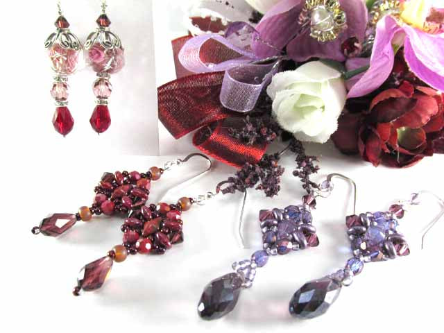 Radiant Orchid Purple and Lavender Dragonfly Swarovski Crystal Teardrop Hand Beaded Earrings - Odyssey Creations