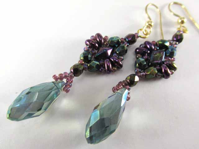 Peacock Green Teal and Purple Dragonfly Swarovski Crystal Teardrop Hand Beaded Earrings - Odyssey Creations