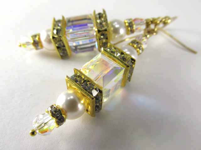 Crystal AB Swarovski Cube and White Pearl Art Deco Lantern Bridesmaid Earrings in Gold or Silver - Odyssey Creations
