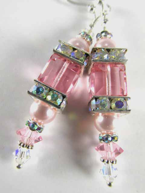 Light Pink Pearl and Swarovski Rose Cube Lantern Bridesmaid Earrings on Sterling Wires - Odyssey Creations