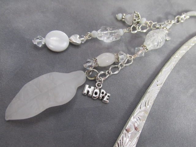 Hope and Joy Beaded Message Bookmark with White Quartz and Swarovski on Silver - Odyssey Creations