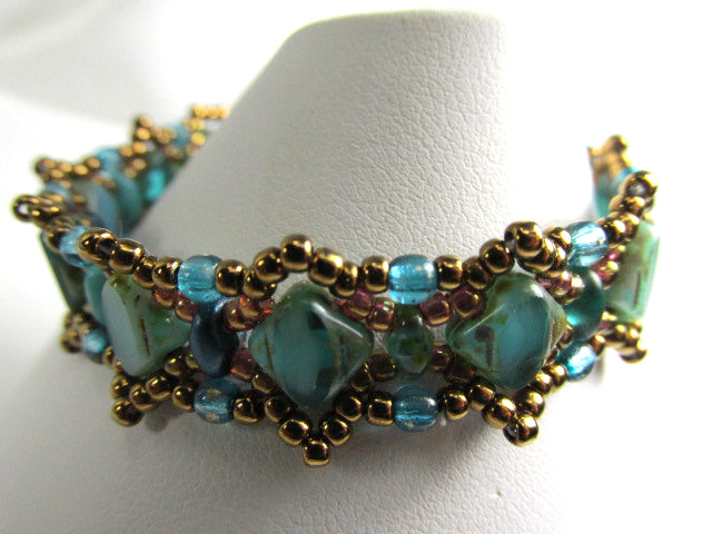 Emerald Pools Green Teal Turquoise and Bronze Silky Beadwork Small Child Bracelet - Odyssey Creations