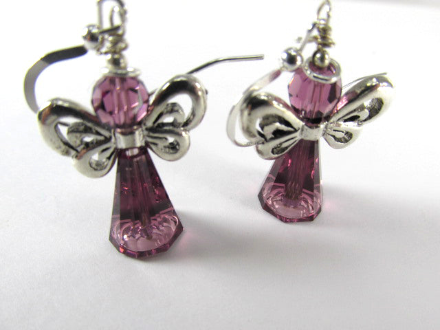 Angel Earrings in Swarovski Purple Amethyst on Fine Sterling Silver Wires - Odyssey Creations