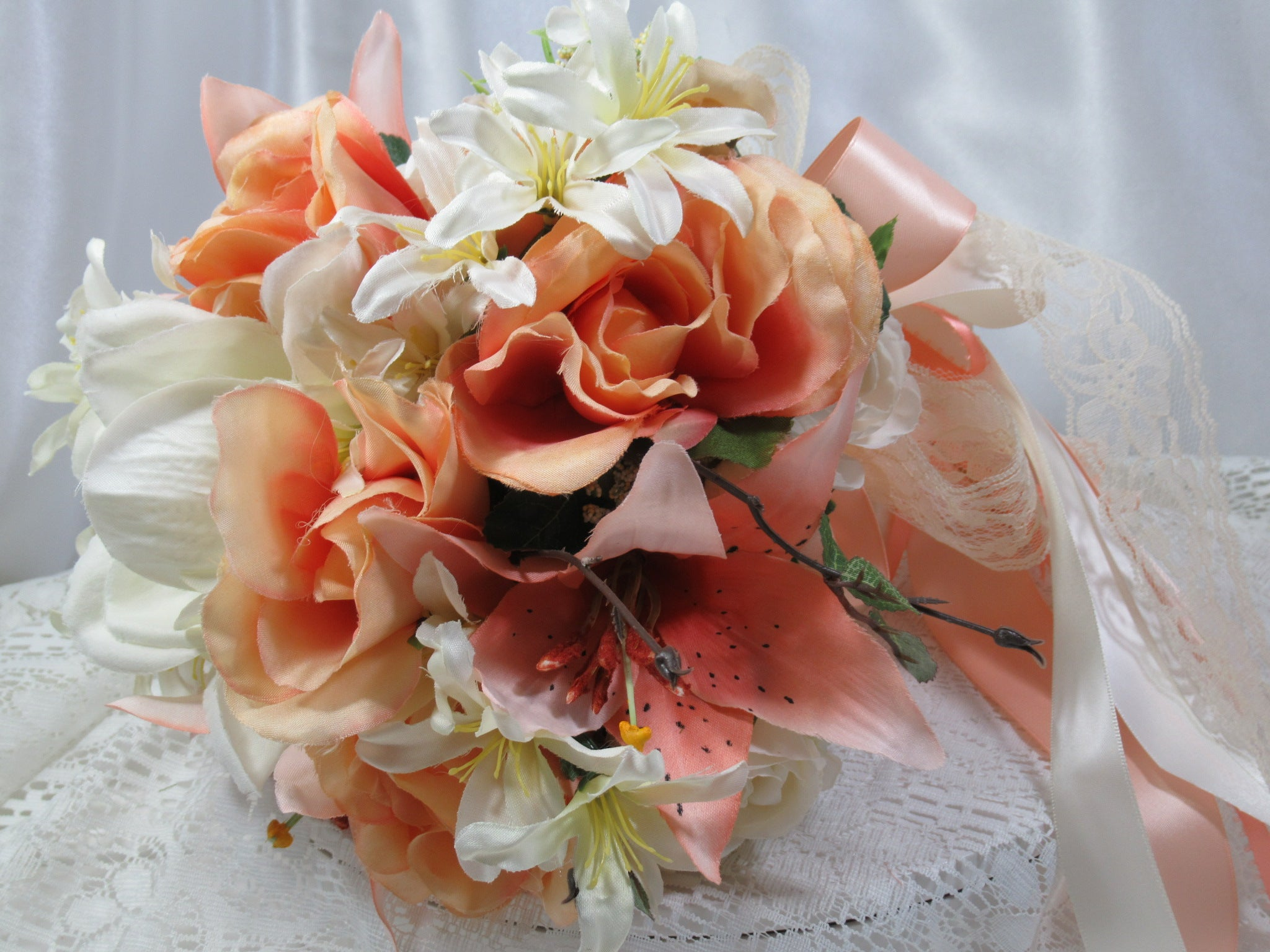 Peach, Coral and Ivory Medium Cascading Ribbon Bridal Bouquet - Odyssey Creations