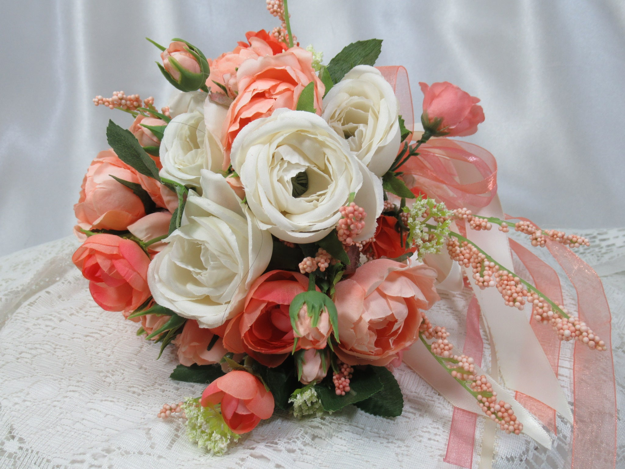 Small Peach, Coral and Ivory  Cascading Ribbon Bridal or Bridesmaid Bouquet - Odyssey Creations