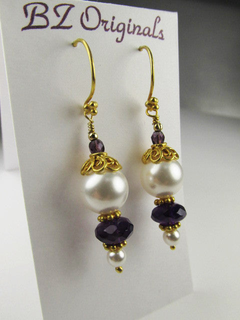 White Swarovski Pearl Earrings and Faceted Amethyst Gemstone Rondelles on 22k Gold Vermeil - Odyssey Creations