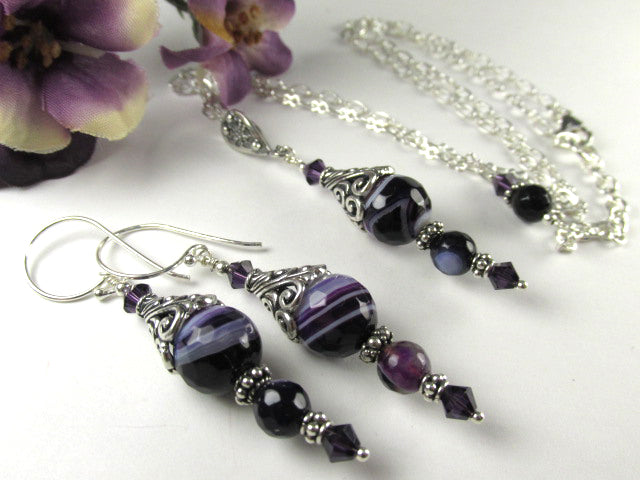 Purple Agate Gemstone Adjustable Necklace and Earring Set on All Sterling Silver - Odyssey Creations
