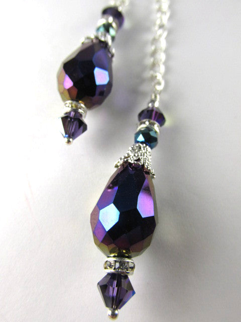 Blue Violet Crystal Staggering Double Drop Longer Necklace and Earring Set on Silver - Odyssey Creations